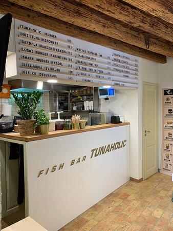 Awesome Swordfish-Burger!! Friendly service!