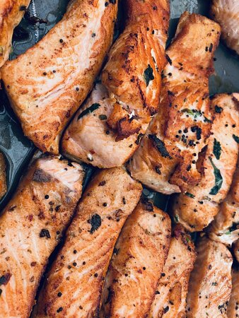 We sell freshly bought salmon from local suppliers. We make sure they are cooked gently and marinated in our ground spices.