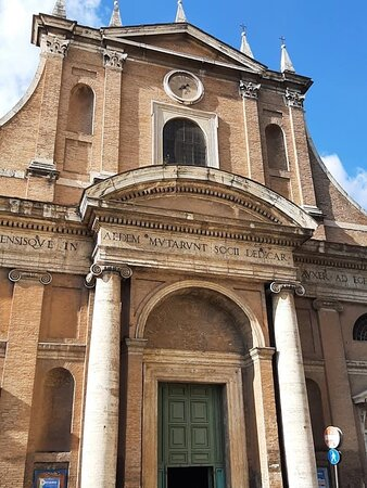 The façade was begun by Giacomo Barozzi da Vignola, who received geometric assistance from Giovanni Giovannoni. It was completed by Francesco da Volterra in 1577. Final internal decorations were completed in 1579.