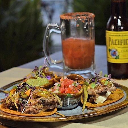 Rib eye tacos, grilled farm cheese, cactus, matcha sauce.