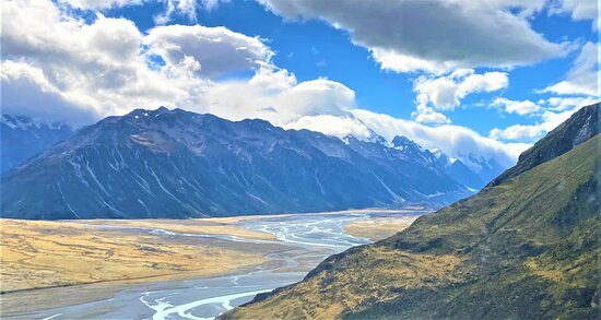 Crossing the Tasman River by helicopter - all part of the Alps to Ocean experience