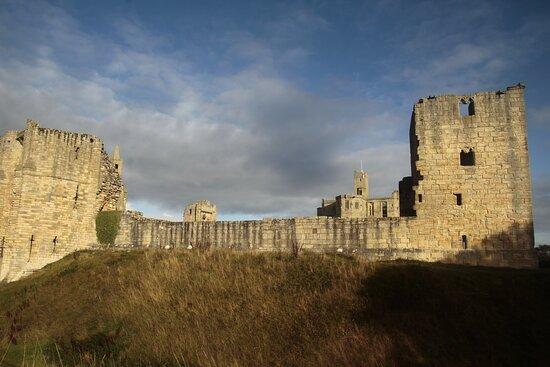 Warkworth, Northumbria England, United Kingdom, Warkworth Castle - south-east corner.