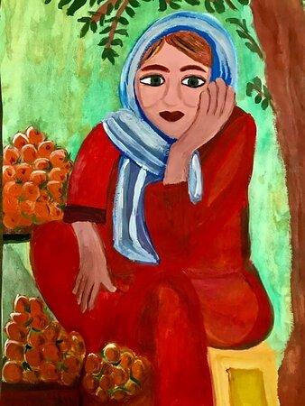 Egypt: Acrylic painting Selling fruit 35/50