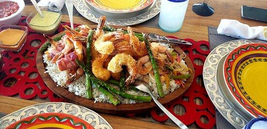 Shrimp three ways with rice & veggies