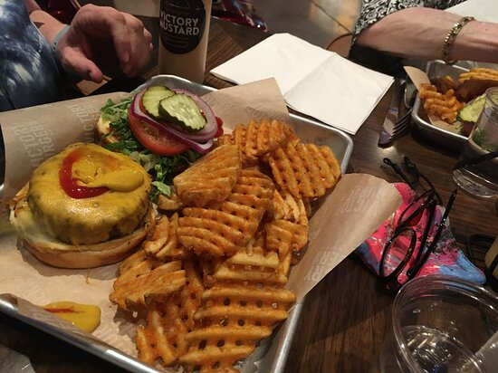 Victory burger with waffle fries
