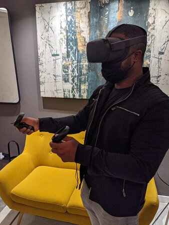 One of the guests, that just got engaged to his GF at the hotel. He thought he'd jump on the VR too. The wifi is good and everyone in the hotel is super friendly.