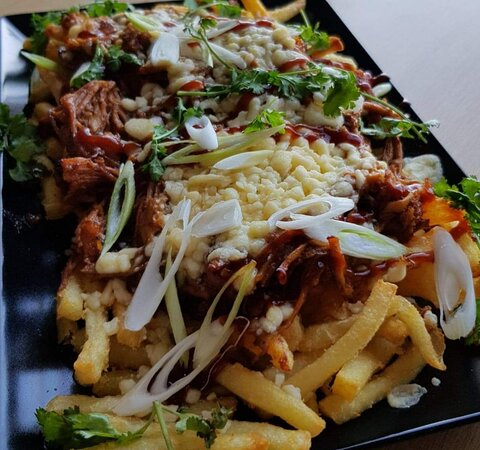 BBQ pulled pork loaded fries from our sharing platters menu