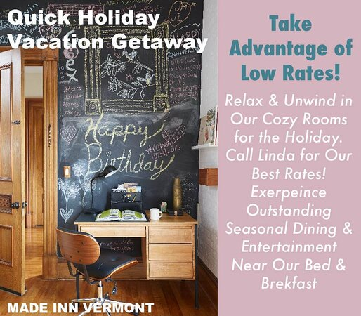 Best Place to Stay in Vermont- Made INN Vermont, an Urban-Chic Burlington Boutique City-Retreat in Downtown Burlington…historic, close to Church Street, Champlain College, and UVM….easy walking, great neighborhood, fun, relaxed stays!   The BEST!
