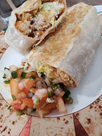 The chicken burrito was delicious.
