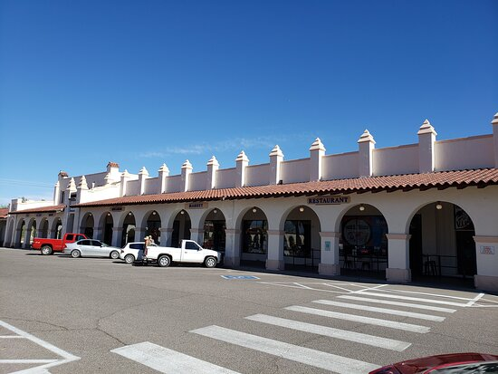 The restaurant is in this long building as are a number of other shops and businesses.