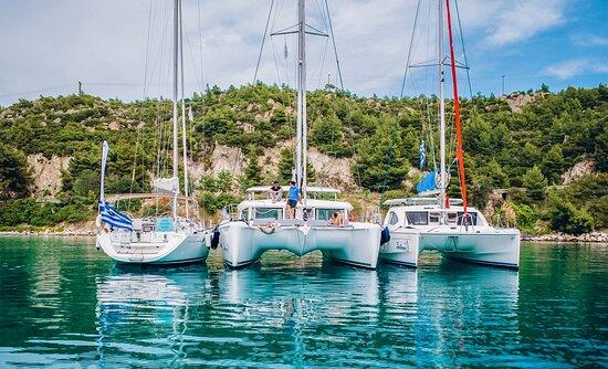 Part of our fleet in Kelifos (Turtle) Island