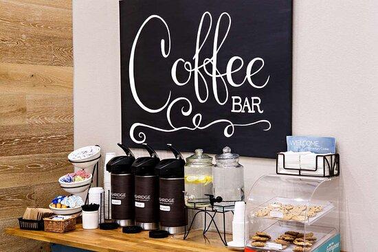 Coffee, Hot Water, Condiment Packs, Juice & Cookies