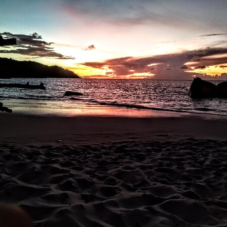 Sunset Anse Lazio beach Praslin Seychelles