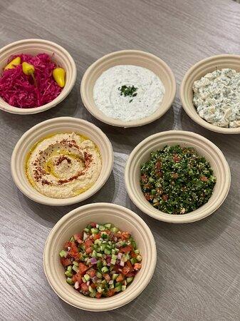 Shirazi Salad, Tabooleh, Potato Salad, Cucumber Yogurt, Pickled Cabage and Hummus