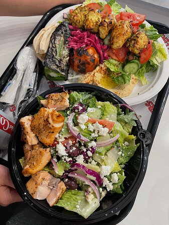Chicken Plate and Greek Salad w/ Salmon