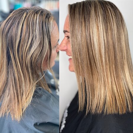 Rosedale, Nueva Zelanda: Blonde balayage  Dark foils and lowlights to a lighter blonde