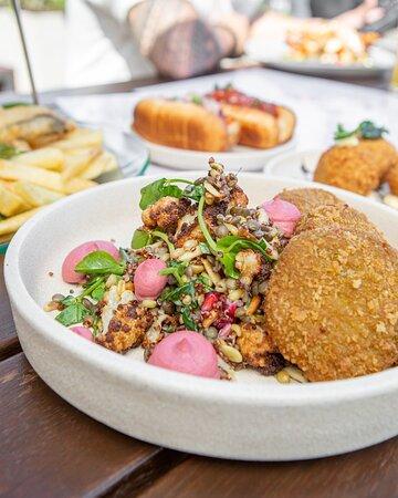 Vegan falafel grain salad