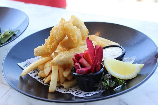 Fish and chips by the water