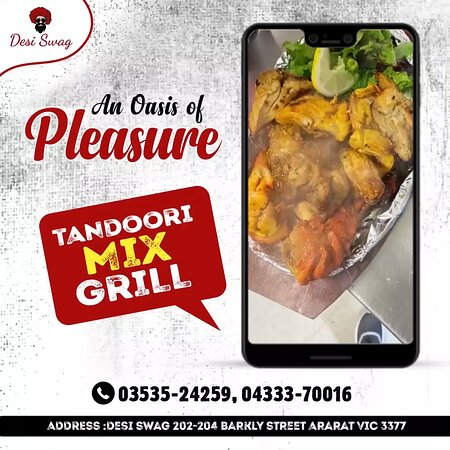 Come at DESI SWAG- an oasis of pleasure, to experience delicious food! Enjoy TANDOORI MIX GRILL- a combo or two pieces each of Achari Chicken, Tandoori Lamb Cutlets, Tandoori Wings, and Tandoori Chicken with Mint Raita 👉 Bookings are on for Dine-in/Take-Away/Delivery 👉 Call us on 📲 03535-24259, 📲 04333-70016 👉 Come at 📌 DESI SWAG, 202-204, Barkly Street, Ararat- Vic. 👉 See 🌐 https://desiswagvictoria.com/