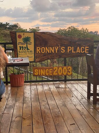 Ronny's sign on patio before sunset.