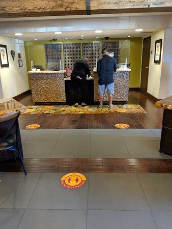 Check-in desk at the Hotel Corque.