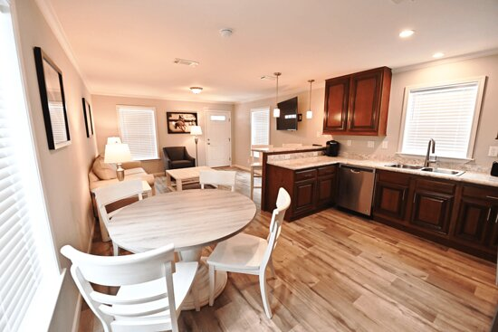 Home Away from Home units feature three bedrooms, two bathrooms, kitchen, living and dining areas.