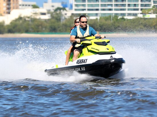 1.5 hr Jet Ski Safari tour to South Stradbroke Island!: Hooting along the  channel at full pelt! Great fun. Photo courtesy of the operator, as part of my photo package I paid extra for. Recommend doing that! They give you a really nice set of prints too!