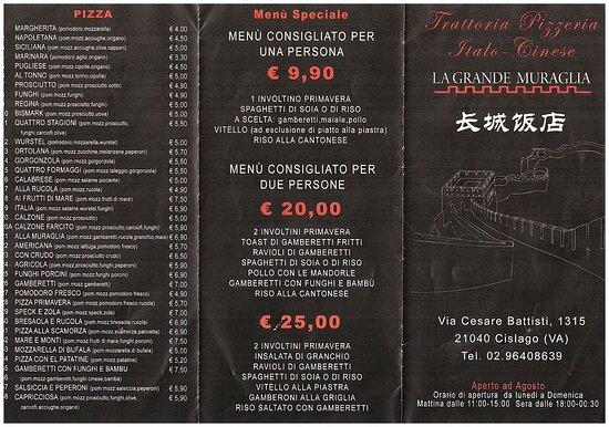 Cislago, إيطاليا: menu