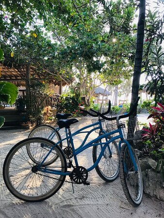 We borrowed bikes each day to ride around the island -- no charge! (but we tipped the staff member who helped us with the bikes)