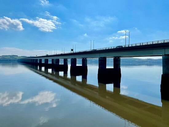 This bridge crossing the Firth Of Tay & linking Newport-on-Tay to Dundee ( part of the A92) is one of the longest road bridges in Europe at 2,250 metres.