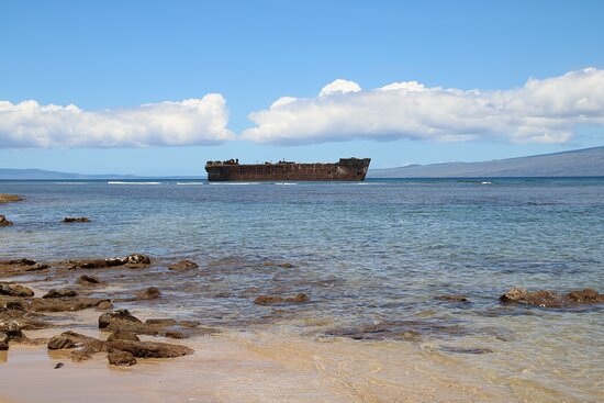 View of wrecked tanker from the beach