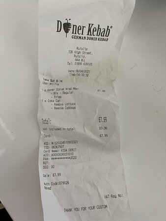 copy of receipt if the owner wants to investigate