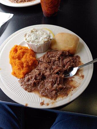 Pot roast, carrot soufflé, and potato salad