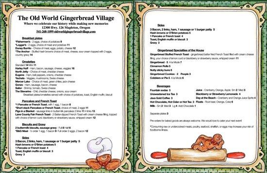 Mapleton, OR: Breakfast menu