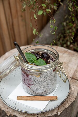 Chia chai pudding and cherry toppings