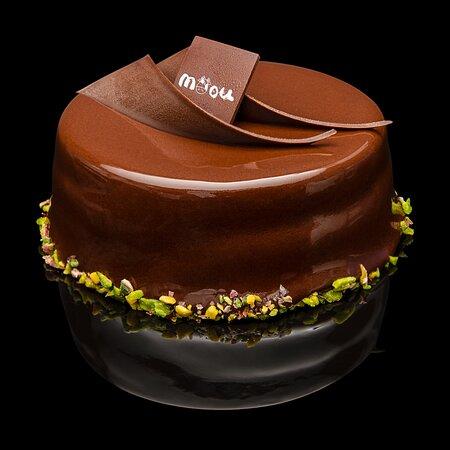 torta al pistacchio glassata al cioccolato fondente piccola