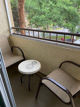 Balcony with ash trays