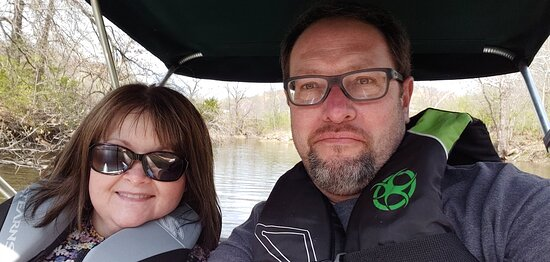 On the paddleboat. Paddleboat is covered and sits up high -- very comfortable.