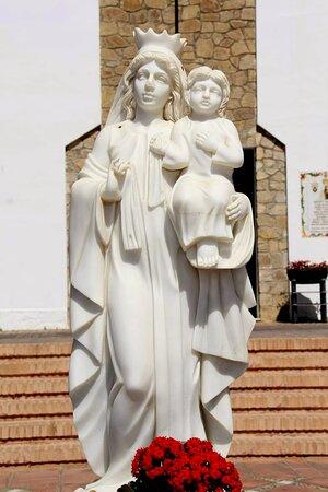 Statue of the Virgen del Carmen in front of her chapel