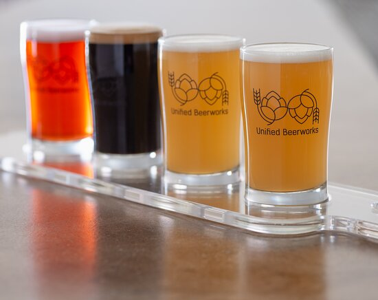 Unified Beerworks offers a variety of craft beer styles, from hazy and juicy New England IPAs and pale ales, to roasty stouts, fruity sours, crisp lagers, and funky saisons. Can't decide? We offer flights of 4 so you may try a little of everything!