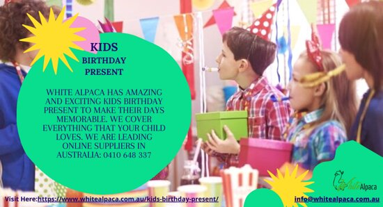 White Alpaca has amazing and exciting kids birthday present to make their days memorable. We cover everything that your child loves. We are leading online suppliers in Australia: 0410 648 337 Visit: https://bit.ly/3mXMSM5