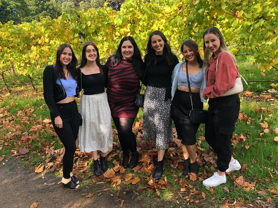 My group enjoying the beautiful autumn leaves at Mont Rouge Estate.