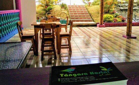 El Hostal Tangara tiene una bonita zona verde con fuente de agua y mucho aire puro para respirar