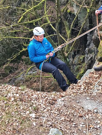 Abseiling in to cath quarry.
