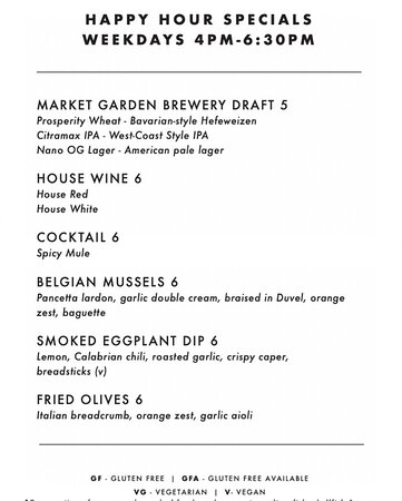 Join us for Happy Hour - weekdays 4-6:30pm