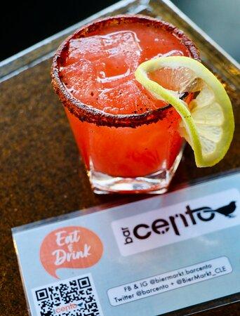 The Lowdown - reposado tequila, aperol, raspberry grapefruit juice, soda with a coffee spice rim