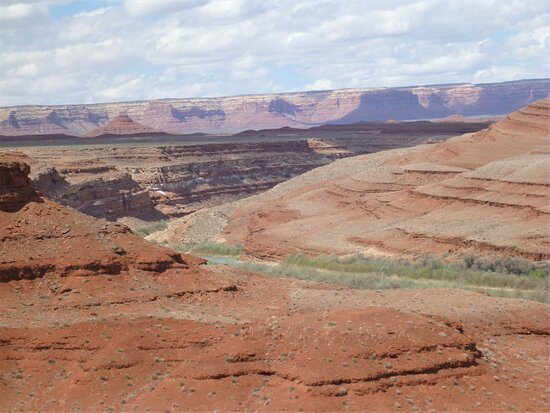 Behind Mexican Hat Rock formation -  view point of San Juan River