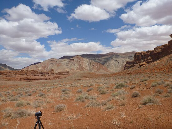 Behind Mexican Hat Rock formation - very pretty all around and you can hike / walk to view point of San Juan River