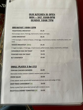 MENU AND KITCHEN OPENING TIMES PAGE 1