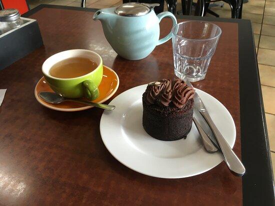 Flourless chocolate cake and peppermint tea